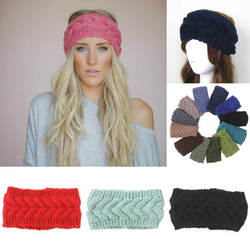 Winter Women Crochet Head Wrap Warmer Knit Twist Elastic Headband Lady Woolen Hair Accessories Gray 24 Colors(China (Mainland))