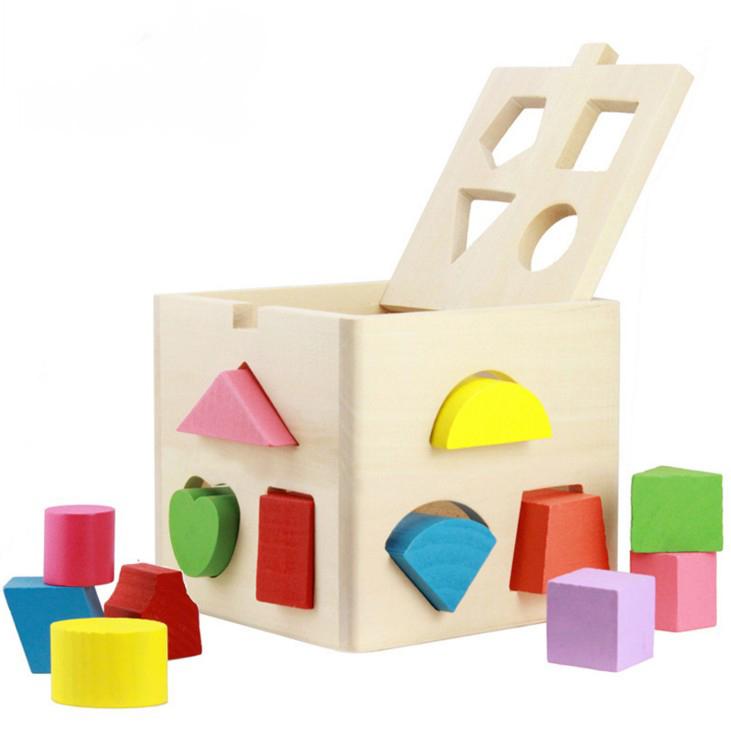 Educational Toys Baby Intellectual Wooden DIY 13 Holes Geometry Blocks Shape Sorting Cube Box(China (Mainland))