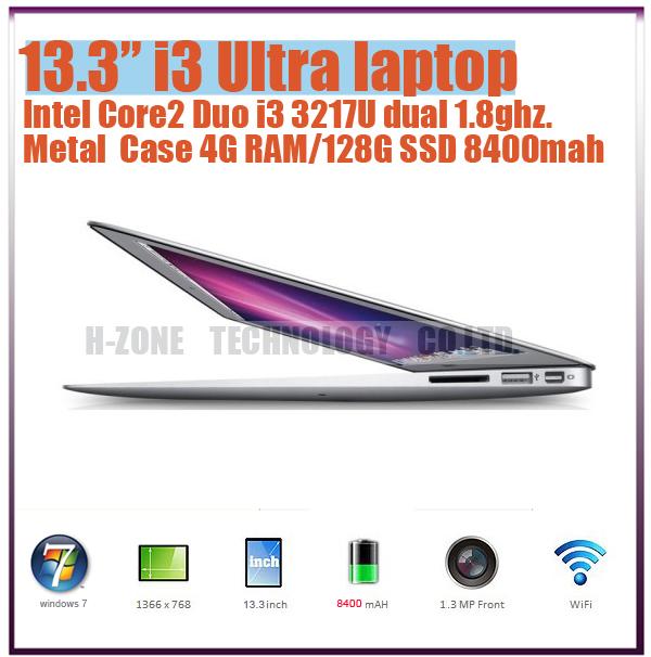 """Freeshipping to Russia!!13.3"""" Ultra Thin Aluminium Laptop Notebook Intel Core i3-3217U Dual-core 1.86Ghz 4G RAM &128G SSD HZ-M2i(Hong Kong)"""