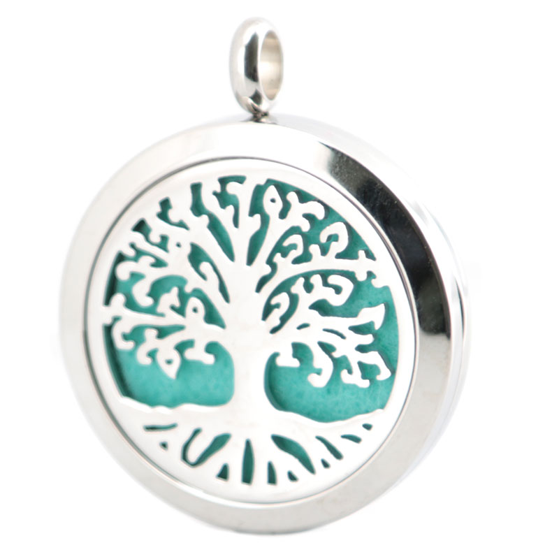 Silver Jewelry Tree of Life AromJewelry atherapy Essential Oils Stainless Steel pendant Perfume Diffuser Locket Necklace(China (Mainland))
