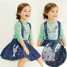 Autumn 2014 new children's clothing set girl's blouse shirt + suspender skirt 2 pcs. overalls baby girls clothes suit set(China (Mainland))