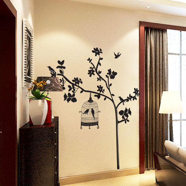 Black branches and black bird sitting room household adornment wall stick mobile stick on the wall(China (Mainland))