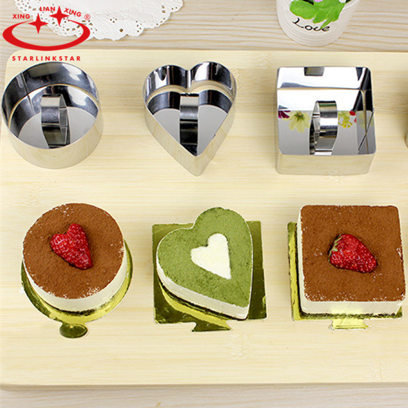 DIY Kitchen Tools Bakeware Stainless Steel Cupcake Mold Salad Dessert ,cutter cake mold cooking tools Round heart-shaped square(China (Mainland))