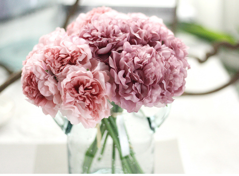 1 bouquet 5 heads peony flower Artificial Silk Fake Peony Floral Wedding Bridal Bouquet christmas 2017wedding home decoration