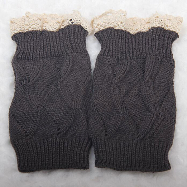 Luxury Lady Hollow Crochet Knitted Lace Trim Boot Cuffs Toppers Liner Leg Warmer(China (Mainland))