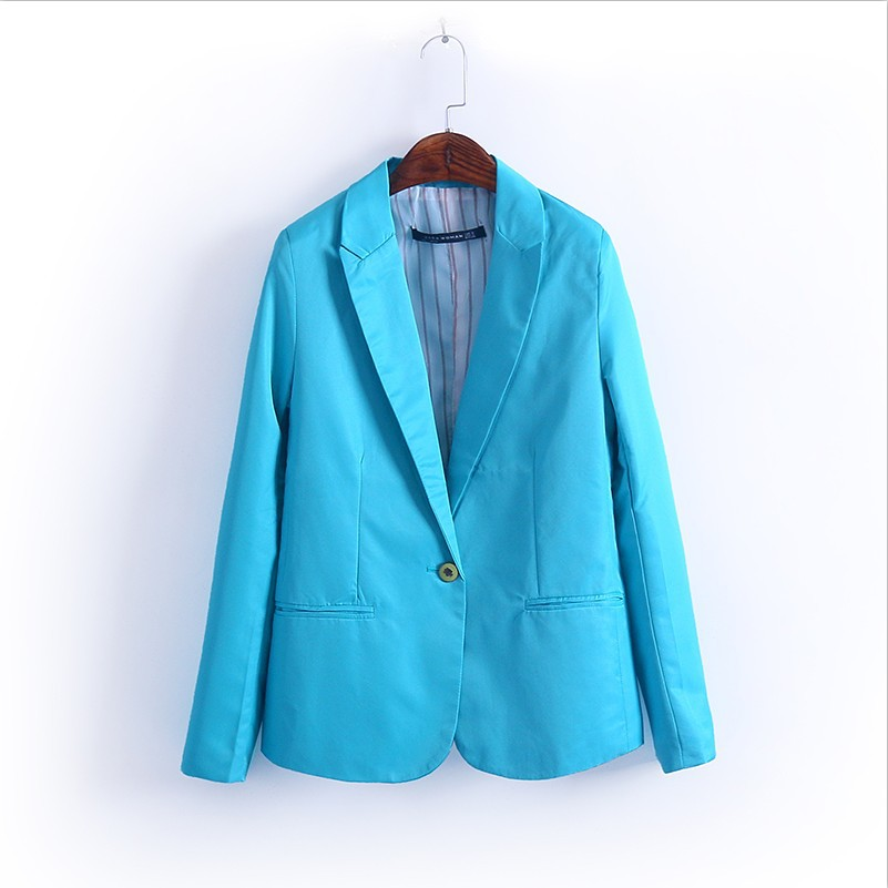 2015 Autumn New Blazers Coat Woman Candy Color Suit Terno OL Lady Workwear Blazers Suits Casual Fashion Fall Tops Overcoat
