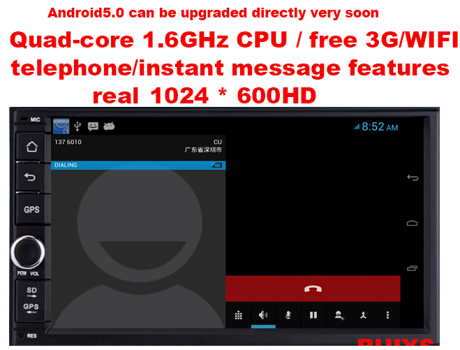 """universal 7"""" car dvd 1024*600,Android4.2/Quad-core 1.6G CPU,1G DDR3,8G flash with map,free 3G,WIFI,with telephone,IM functions(China (Mainland))"""