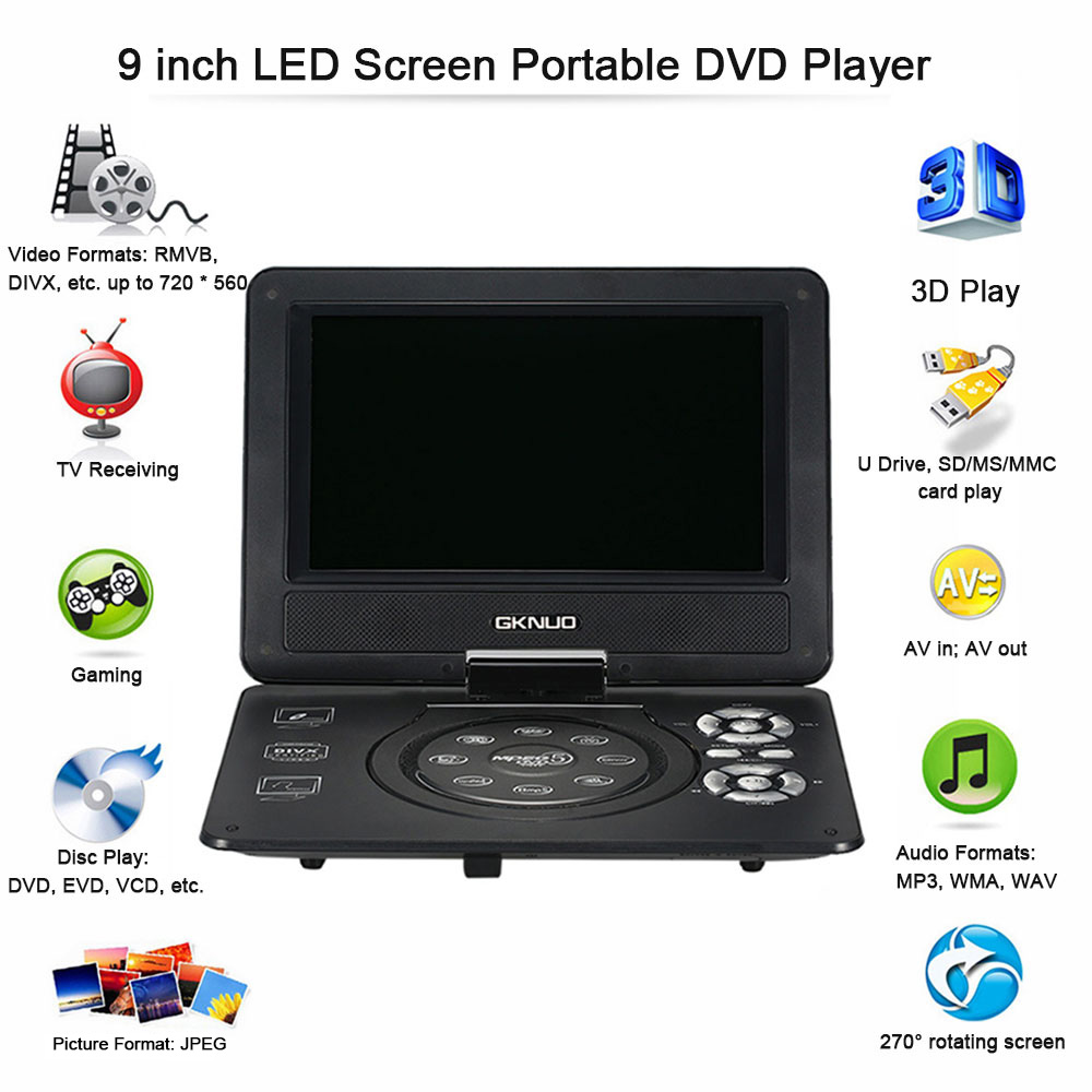 GKNUO GKN-900 9 Inch DVD Player Digital Multimedia Player Support U Drive Play & Card Reader FM / TV / Game Function(China (Mainland))