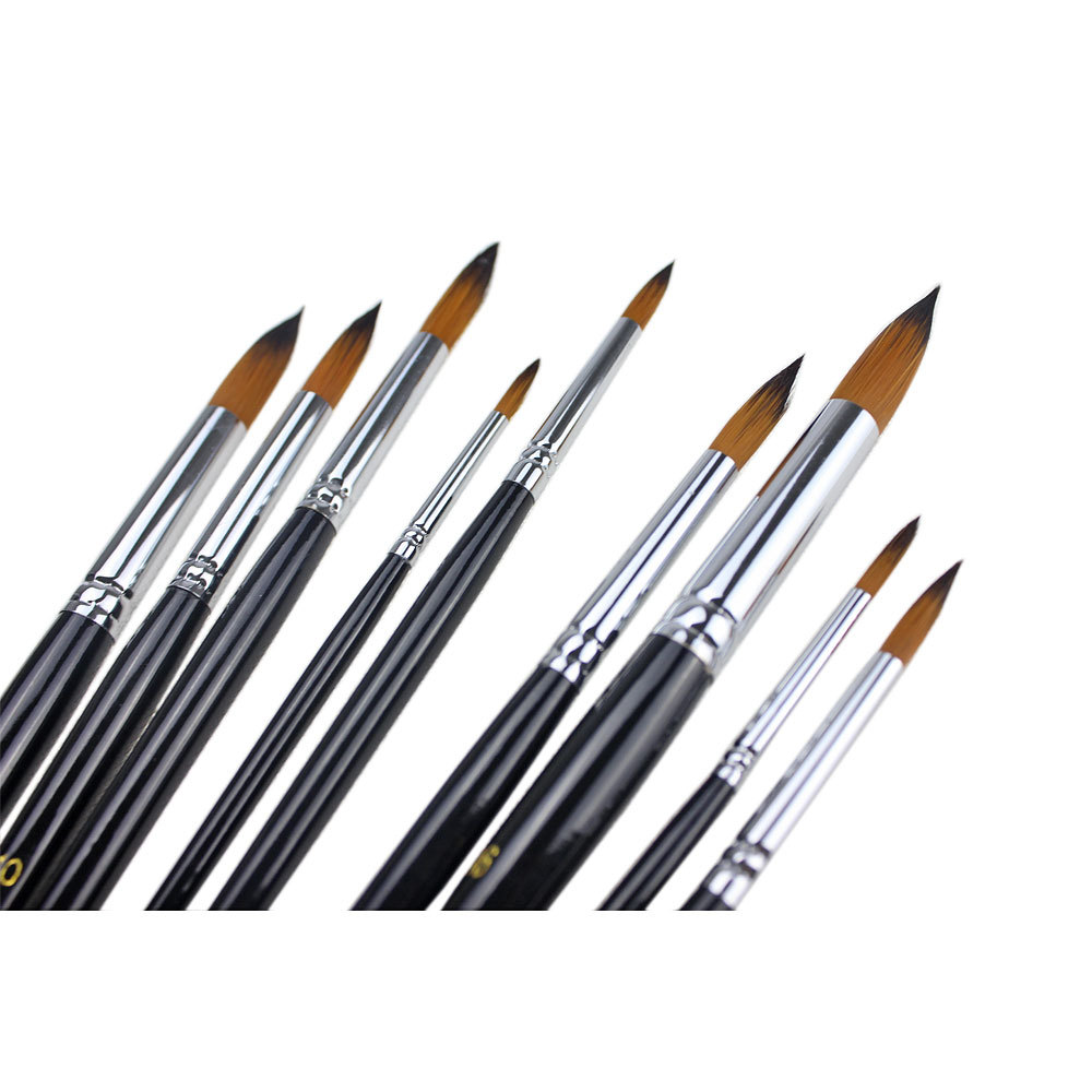 2015 9PCS Artists Paint Brush Set Round Pointed Tip Nylon Hair Acrylic Watercolor Painting Brushes Art Supplies Free Shipping(China (Mainland))