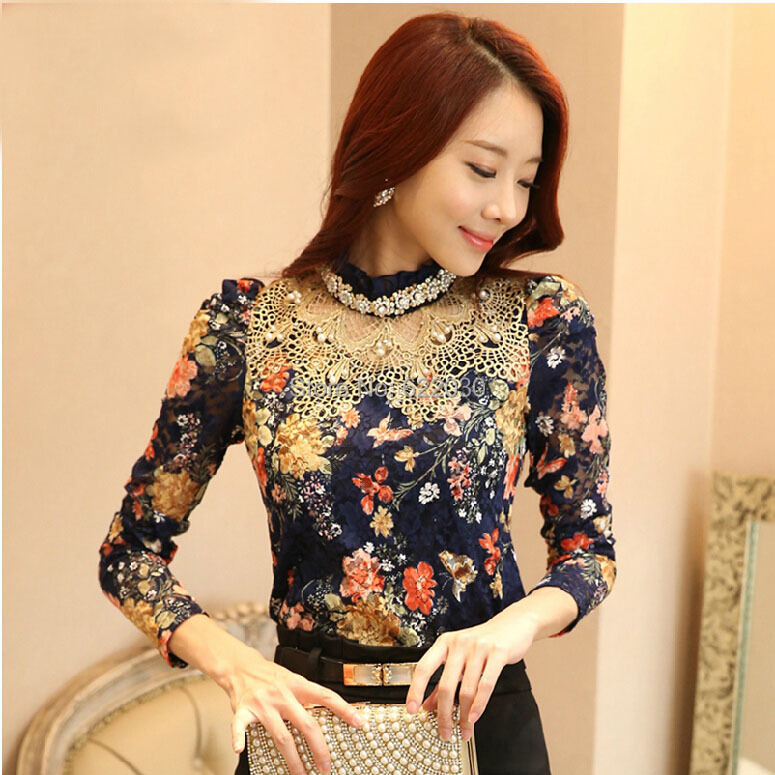 M,L,XL,XXL,XXXL! 2014 New Lace Shirt Women plus size turtleneck woman blouse flower print Elegant Lady Top tunic Blue - BIG SIZE GARMENTS store