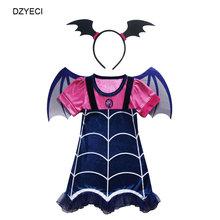 Disfraz Vampirina костюм для платье для девочек на Хэллоуин Детский маска оголовье бутик до платье малыш Эльза vetement enfant fille Маскировка(China)