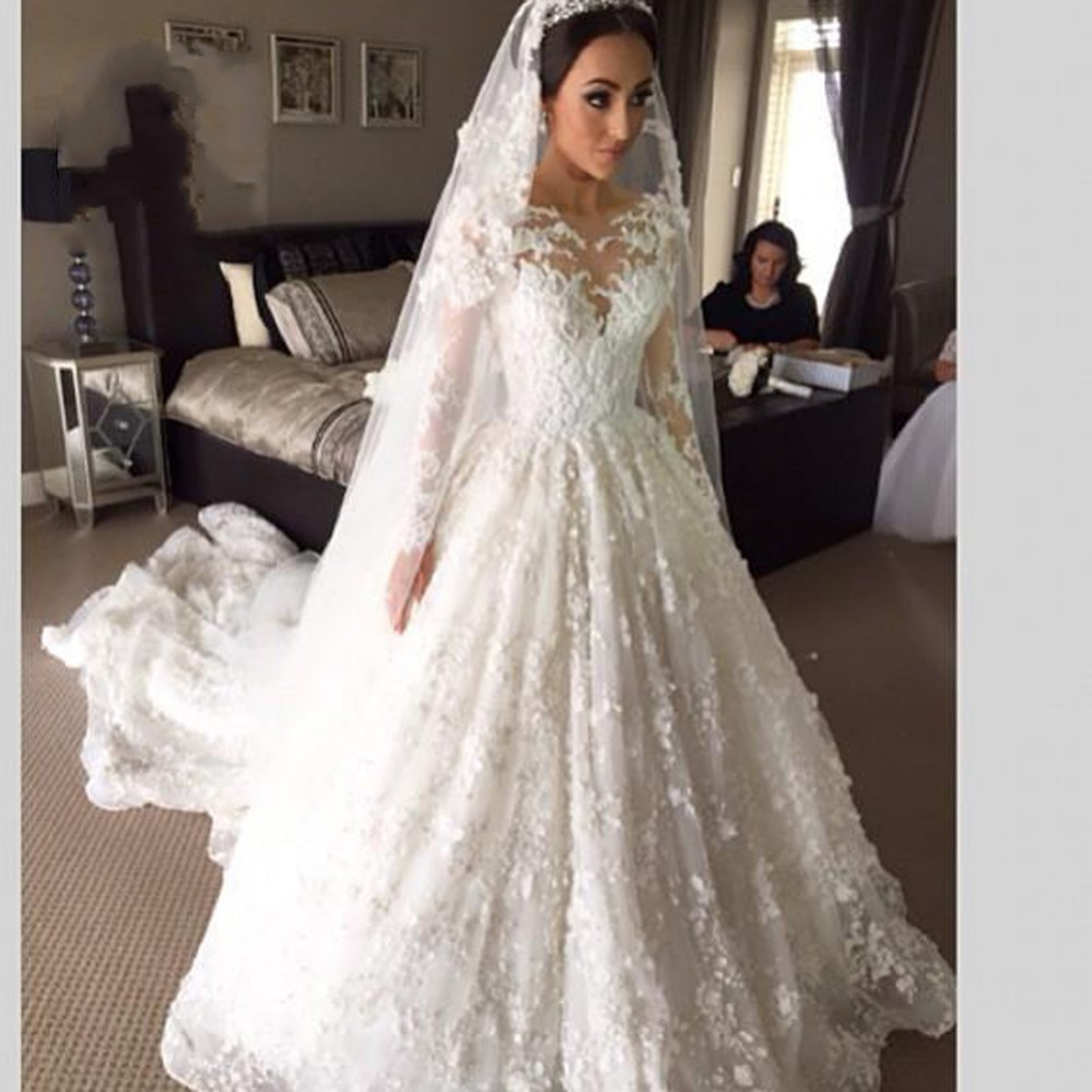 Long Sleeve Wedding Dress Tradesy : Aliexpress buy vintage lace long sleeve ball gown