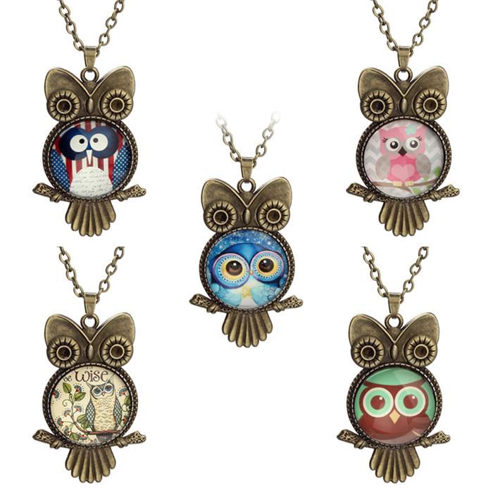 2015 New Antique Brozen Owl Necklaces Vintate Owl Pendant Chain Necklace 50cm 10Pcs/lot for Jewelry Decoration(China (Mainland))