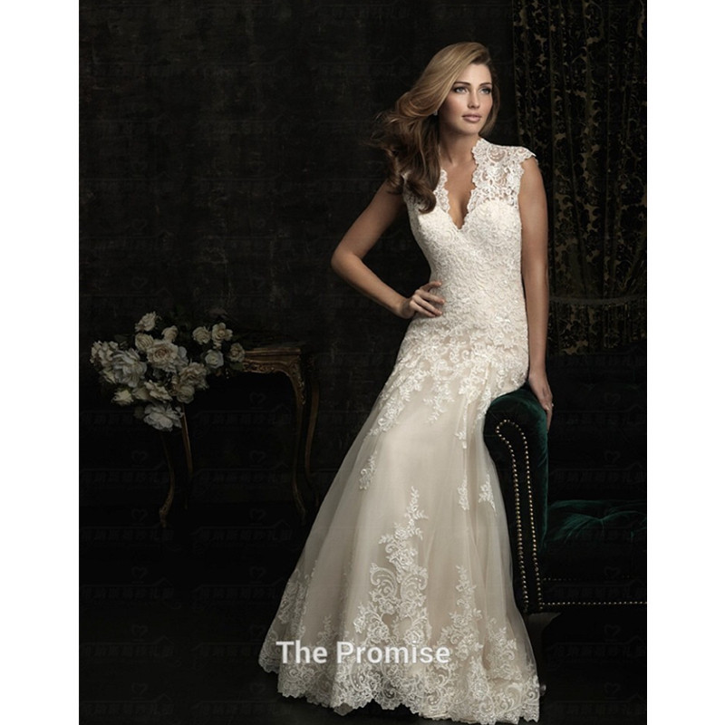 Free shipping 2015 romantic backless lace up vintage for Lace v neck backless wedding dress