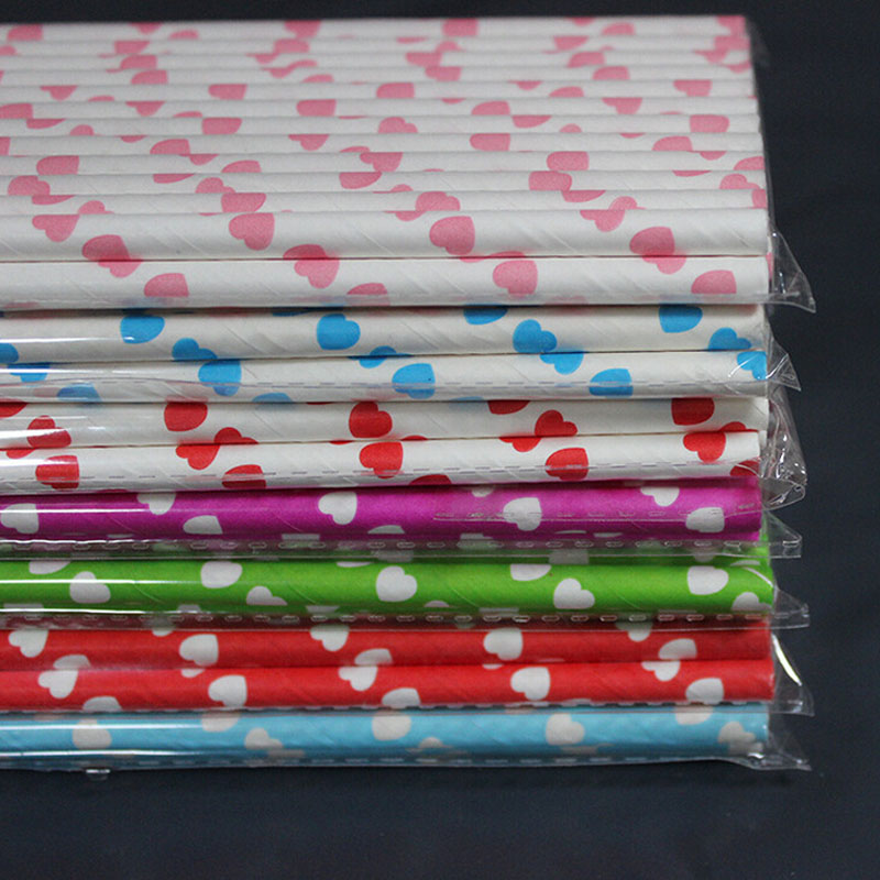 Nice Paper Straws Wedding Christmas Red hearts Party Straws Valentine lovers gifts favor 25 pcs(China (Mainland))