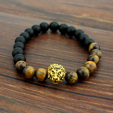 Hot Tiger Eye Brand Lion Head Bracelets Bangles Elastic Rope Chain & Link Natural Stone Friendship Men Bracelets Jewelry(China (Mainland))