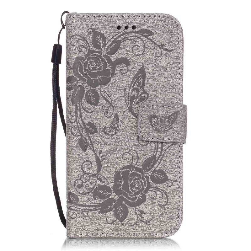 Flower Butterfly PU Leather Wallet Book Flip Cover Case for iPhone 6 6S / 6 6S Plus Phone Case W/ Carry Strap + Screen Film(China (Mainland))