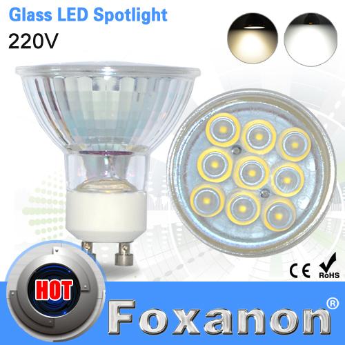 Foxanon Brand GU10 220V Led Spotlight 2835 SMD 9Leds Glass Lamp Body 120 degree lens 3W Spot Light Led bulb downlight lighting(China (Mainland))