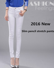 2016 Spring Straight Large Size Elastic High Waist Jeans Skinny Black White Female Pancil pants Slim jeans Trousers For Women