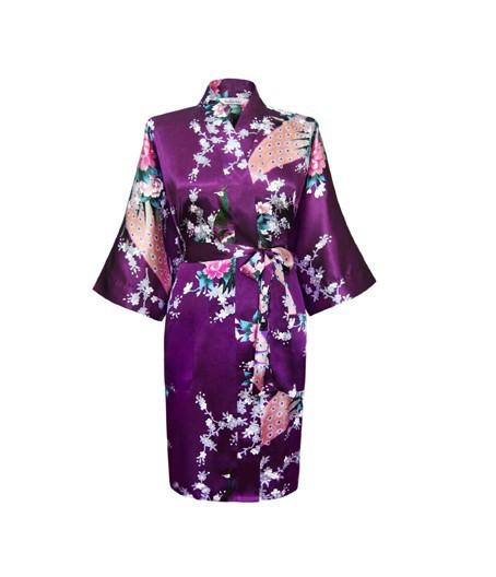 Purple Fashion Womens Peacock Kimono Bath Robe Nightgown Gown Yukata Bathrobe Sleepwear With Belt S M L XL XXL XXXL KQ-15Одежда и ак�е��уары<br><br><br>Aliexpress