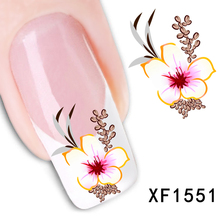 1 Sheet New Arrival Water Transfer Nail Art Stickers Decal Beauty Red Flowers Design Manicure Tool (XF1551 L)