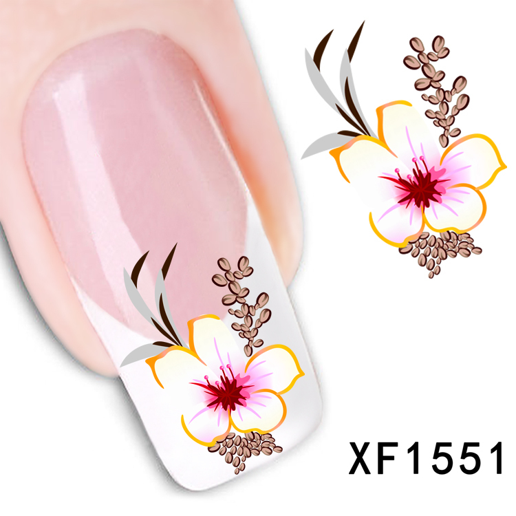 1 Sheet New Arrival Water Transfer Nail Art Stickers Decal Beauty Red Flowers Design Manicure Tool (XF1551 L)(China (Mainland))