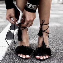 Women Sandals 2016 Summer Fashion New Gladiator High Heel Sandals Ankle Strap Tassel Lace Up Womens Brand Shoes size 35-40 Z1216