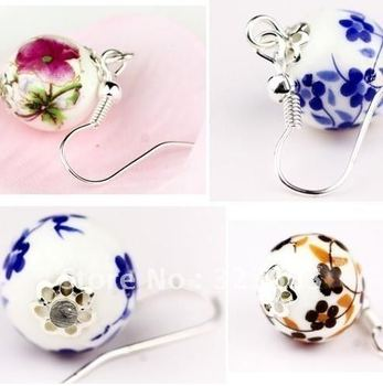 Free Shipping Wholesale earrings Chinese style ceramic ball drop earrings  Min.order is $15 (mix order)