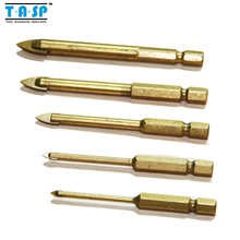 Free Shipping 5 Piece Titanium Coated Glass Drill Bits Set 3/4/6/8/10mm with Hex Shank for Ceramic Tile Marble Mirror&Glass(China (Mainland))