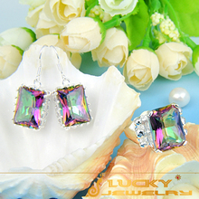60%OFF Fashion Dazzling Rainbow Fire Mystic Topaz Silver Ring & Earring Sets For Women F132 Free Shipping(China (Mainland))