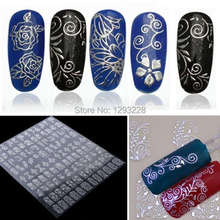 1Pack/108PCS High Quality Adhesive 3D Nail Art Stickers Decals For Nail Tips Decoration Tool Fingernails Decorative Flowers iJ2P