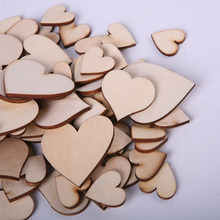 100pcs/Bag Blank Unfinished Wooden Heart Crafts Supplies Laser Cut Rustic Wood Wedding Rings Ornaments