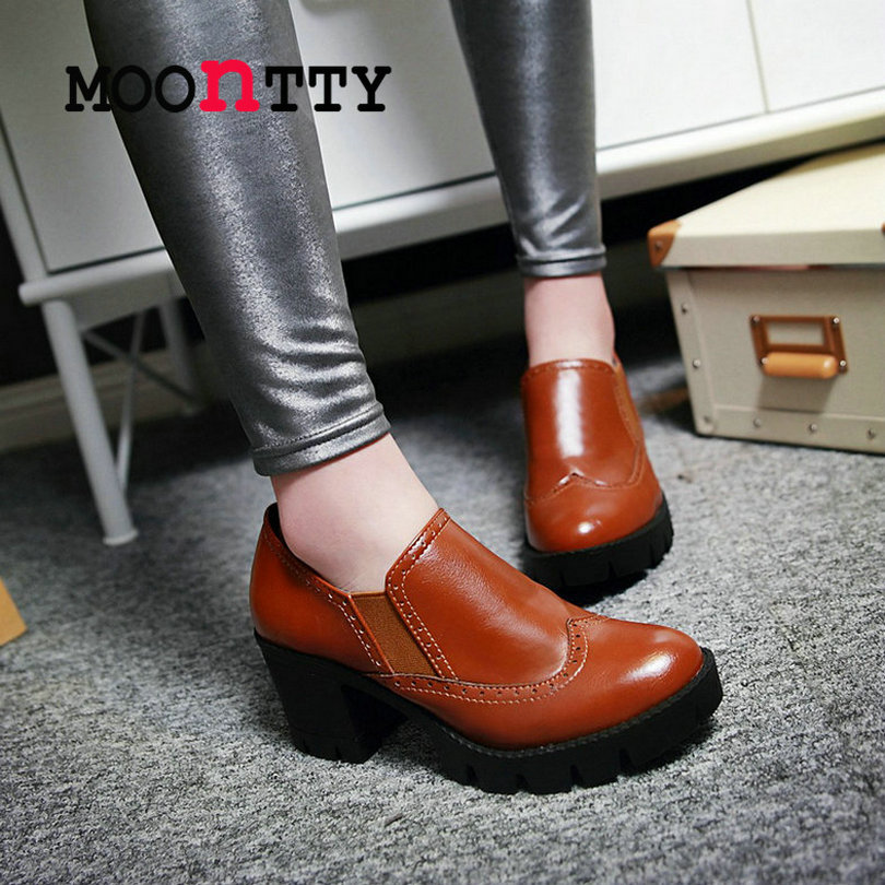 MOONTTY Western Style Slip On Square High Heels Round Toe Women Pumps Pu Elastic Lace Spring/Autumn Miss Party Shoes Size 34-39