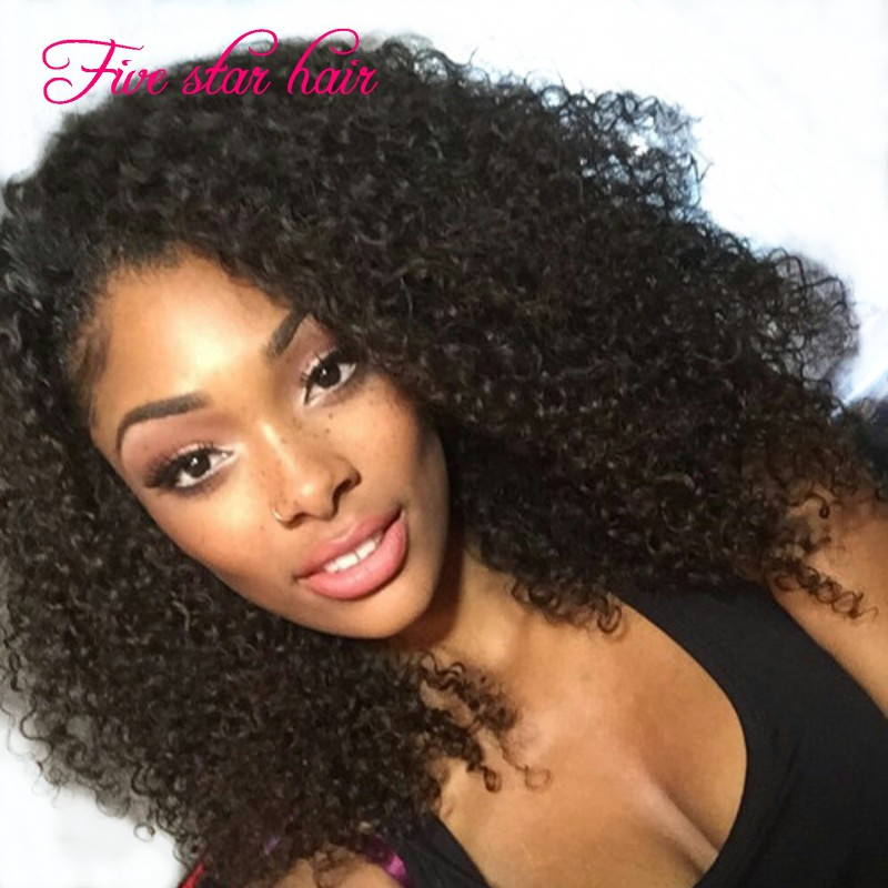 Beautiful Lace Front wig Curly natural hairline 180 density Gluless Full Lace wig with baby hair virgin Brazilian hair wig(China (Mainland))