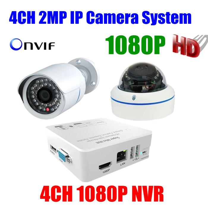 4CH Video Surveillance 2mp waterproof ip camera outdoor 1080P HD mini 4channel NVR recorder network security camera cctv system<br><br>Aliexpress