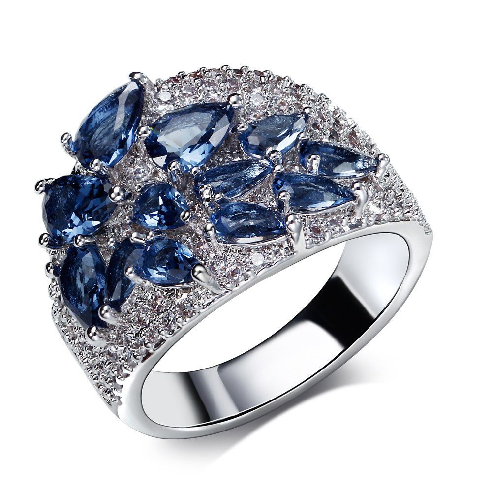 Ring blue water drop and champagne cz jewelry setting with montana and clear cubic zirconia fashion jewelry platinum plate rings(China (Mainland))