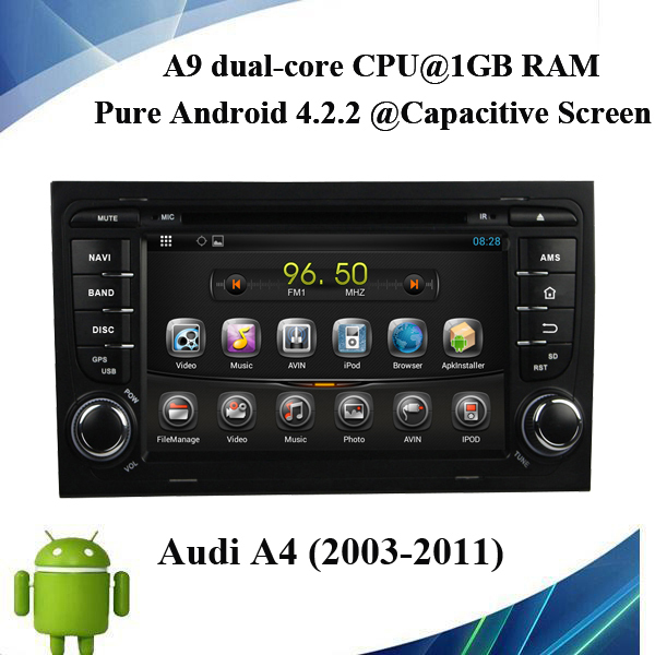 Pure Android Automobile Vehicle GPS For A4 7inch DVD Radio Audio Video Player Bluetooth Wifi DVD Player(China (Mainland))