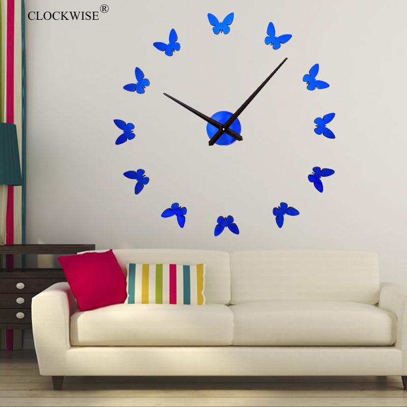 2016 3D Mirror Wall Clock DIY Crystal Kitchen Clocks Home Decoration Reloj De Pared Butterfly #ZH019(China (Mainland))