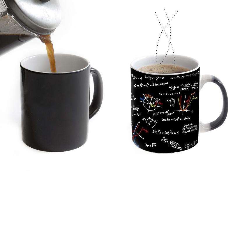 Color Change Creative Mugs Mathematical Formulas Print Coffee Mug Heat Reveal Ceramic Water Mugs Magic Mug Gifts(China (Mainland))