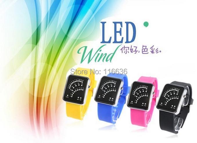 10 pc LED Men Women Jelly Rubber Silicone wind wristwatch new 2014 fashion modern dot display<br><br>Aliexpress