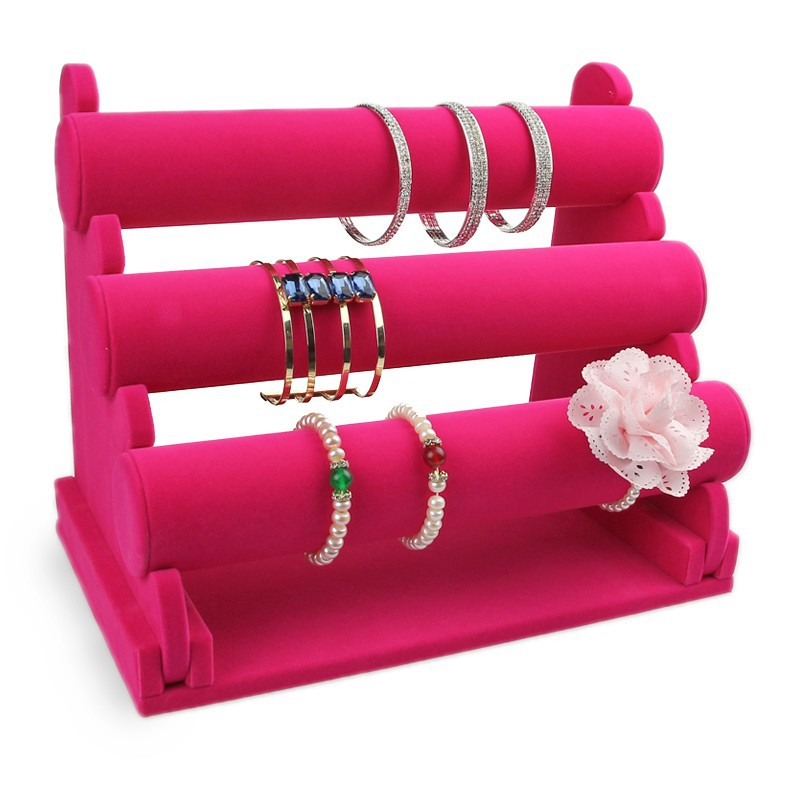 Good Quality and Cheap Price removable Three Layers pink Lint Bracelet Display, removable multi layers bracelet case