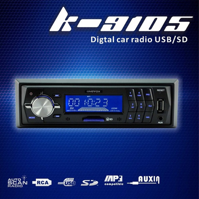 KV-9105  1din car radios with FM receive USB SD 4X 15Watts Blue button background light