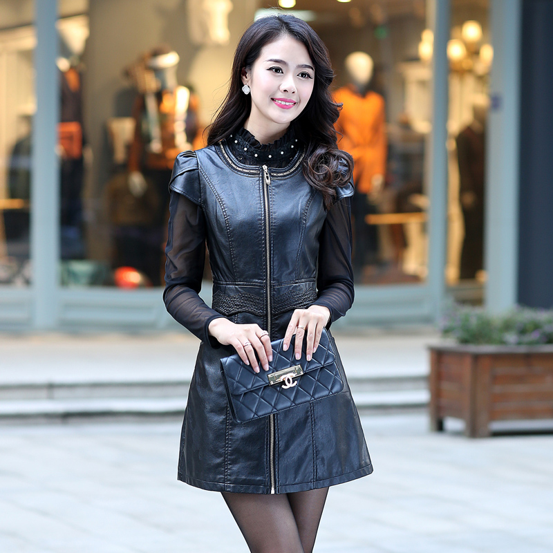 2015 New Spring Ms. Leather In The Long Slim Code Thin Coat Leather Female Leather Jacket Women Jaqueta De Couro FemininaОдежда и ак�е��уары<br><br><br>Aliexpress