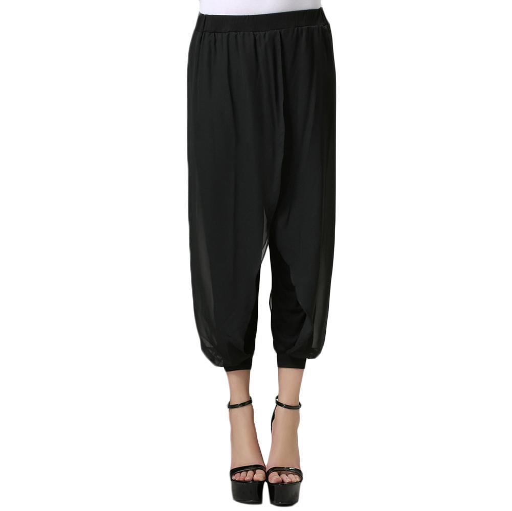 New Fashion Plus Size Harem Pants Black Chiffon Harem Hip Hop Pants Leisure Women Capris Bloomers Loose women's pants(China (Mainland))
