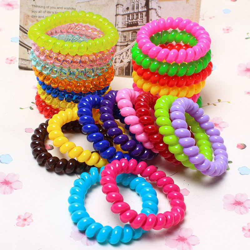 10 pcs fashion bright color telephone wire elastic Silicone rubber bands hair accessories headband scrunchy for women baby girls(China (Mainland))