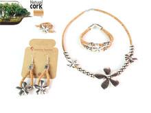 MB Cork, flowers, jewelry sets, Portuguese cork necklace + bracelet + ring + earrings, Tibetan Silver, woman fashion jewelry(China (Mainland))