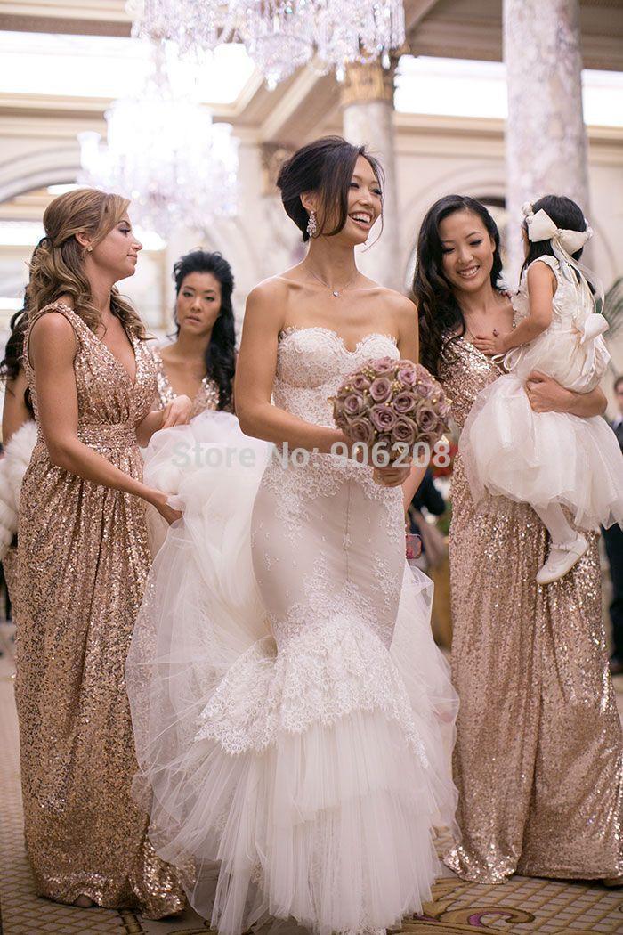 Bling rose gold cheap 2015 v neck bridesmaid dresses for Champagne gold wedding dress