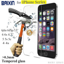 0.3mm 9H tempered glass For iphone 4s 5 5s 6 6s plus screen protector protective guard film front case cover +clean kits(China (Mainland))
