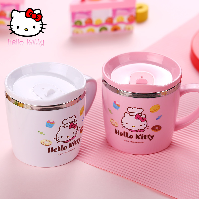 Hello Kitty Mug Keep Coffee Tumbler Stainless Steel kids Milk Tea With Handle Child Drinking Water For Bottle leak-proof(China (Mainland))
