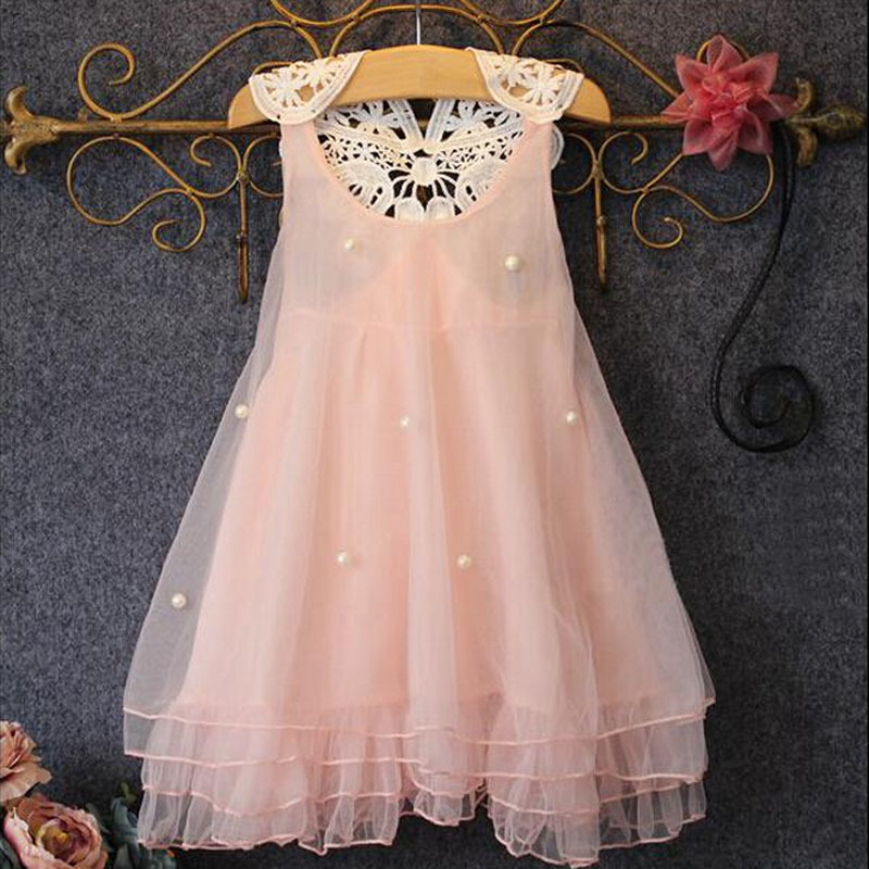 2015 Girls Dresses Baby Girl Party Princess Dresses Summer Style Pearl Mesh back Lace Girl Clothes Tutu Dress<br><br>Aliexpress